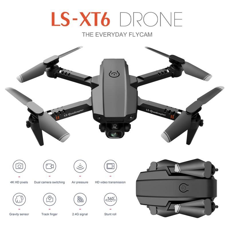 جديد XT6 مصغرة wifi fpv مع 4 كيلو 1080 وعاء hd المزدوج كاميرا الطائرات بدون طيار التعليق وضع طوي rc بدون طيار quadcopter rtf