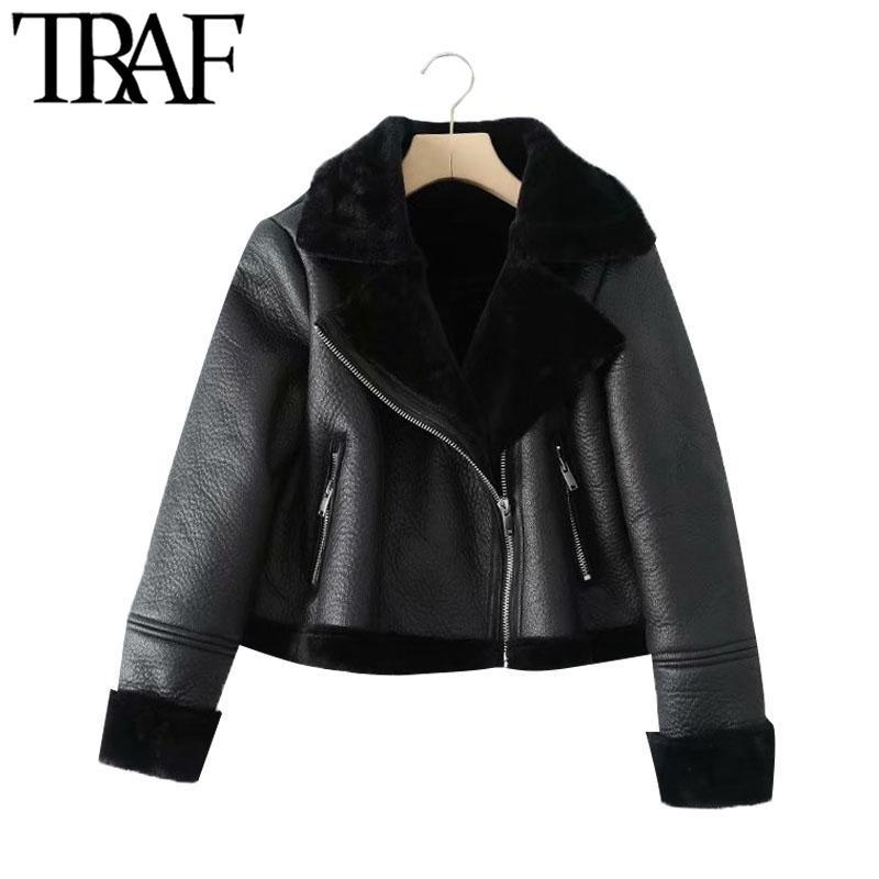 Treffen Sie Frauen Mode Fat Hot Winter Bont Faux Leder Cropped Jacket Vintage Lange Mund Frauen Überwäsche Chic Tops