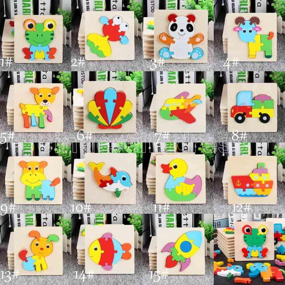 Bebé 3D rompecabezas rompecabezas juguetes de madera para niños dibujos animados animal tráfico rompecabezas inteligencia niños entrenamiento educativo temprano juguete caliente
