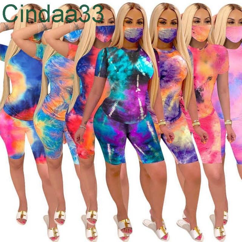 Yaz Bayan Eşofman İki Parçalı Set Kravat Boya T Gömlek Kısa Kollu Pantolon Kıyafetler Moda En Çok Satan Jogging Suits 821