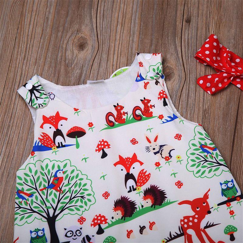 Neugeborenes Baby Kleidung Kleinkind Blumenstirnband Cartoon Kleid Punkt Shorts Outfits Kleidung 0-24M 3 stücke Sätze