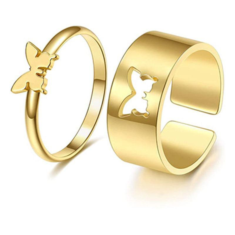 Punk 2pc/set Butterfly Heart Opening Rings for Women Gold Stainless Steel Couple Ring Friendship Jewelry
