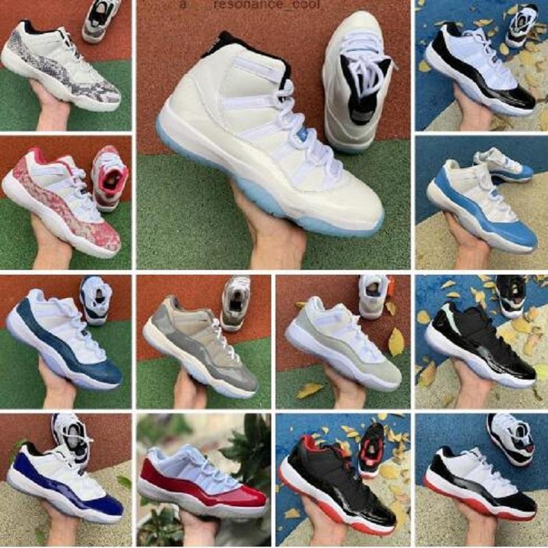 النساء أحذية رجالي كرة السلة عالية الجودة Jupman 11 Low Legend الأزرق Bred 11S Heiress Night Maroon Pantone اعتقد الأفعى الأبيض حجم 13