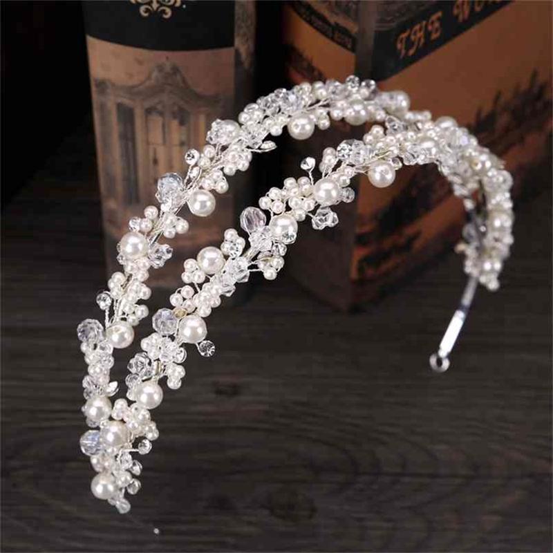 Tuanming branco pérola cristal bridal hairbands tiaras headband da coroa para a noiva acessórios de jóias desgaste 210707