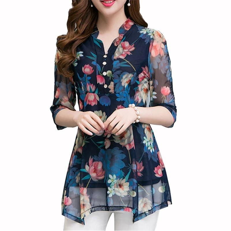 Новая летняя рубашка женские топы и блузки цветочные блузки печатают повседневные женские плюс размер 5xL V-образным вырезом 210225