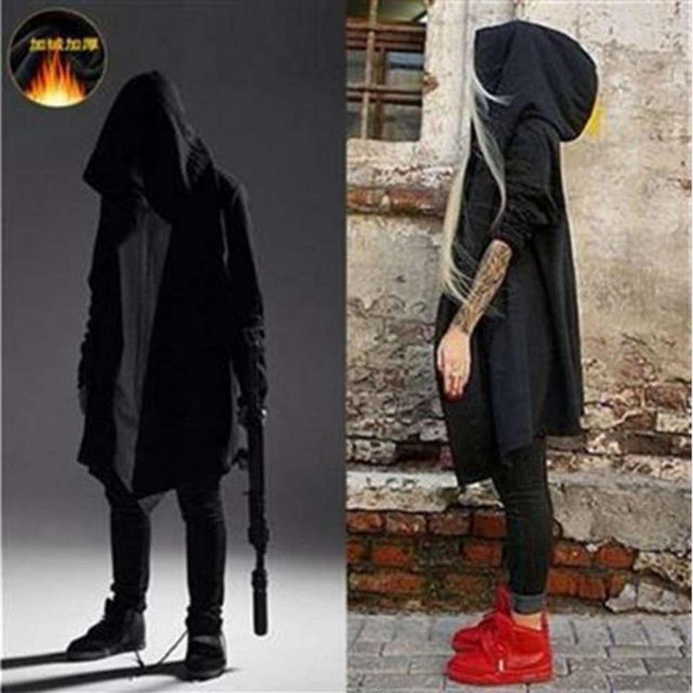 Осенью и зимняя ветреная ветровка убийцы темно черная большая шляпа свитер мужской плюшевый средний длинный хип-хоп