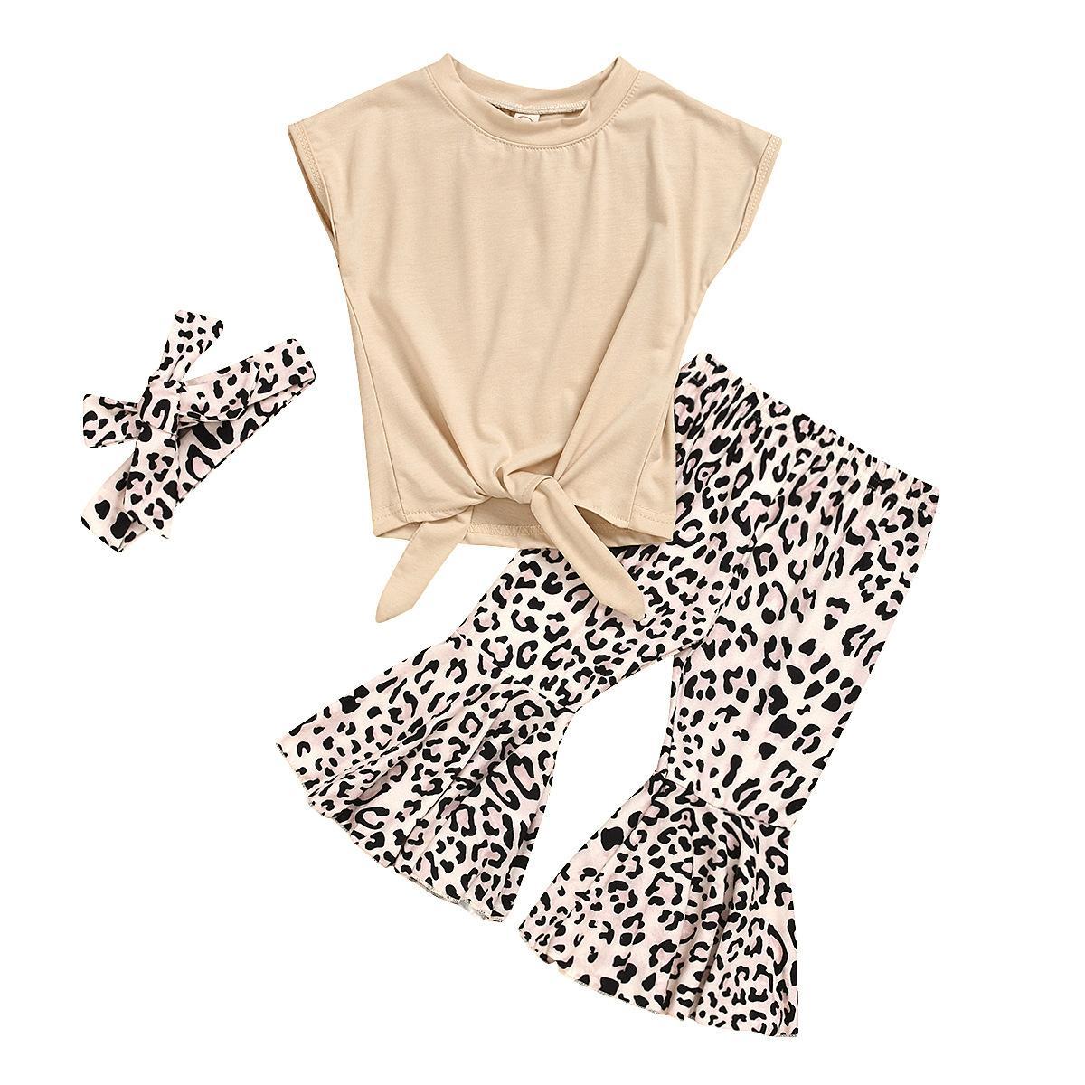 Varejo / Atacado Girl Top + Leopard Flare Calças 3pcs Set com arco Headband Tracksuit roupas conjuntos de meninas roupas criadores de roupas