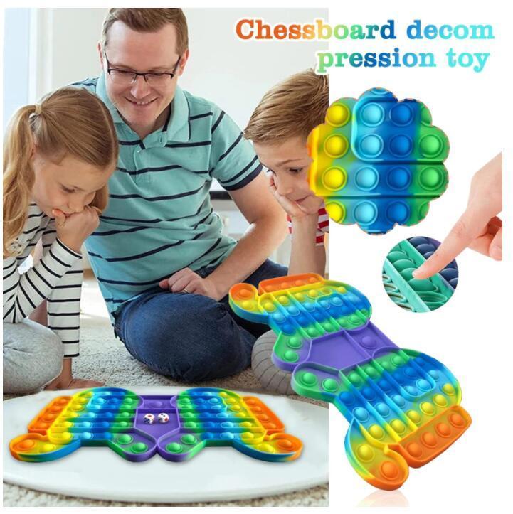 DHL 최신 대형 게임 fidget 장난감 무지개 체스 푸시 거품 부모 - 자식 시간 대화 형 게임을위한 fidget sensory toys cy19fy2808