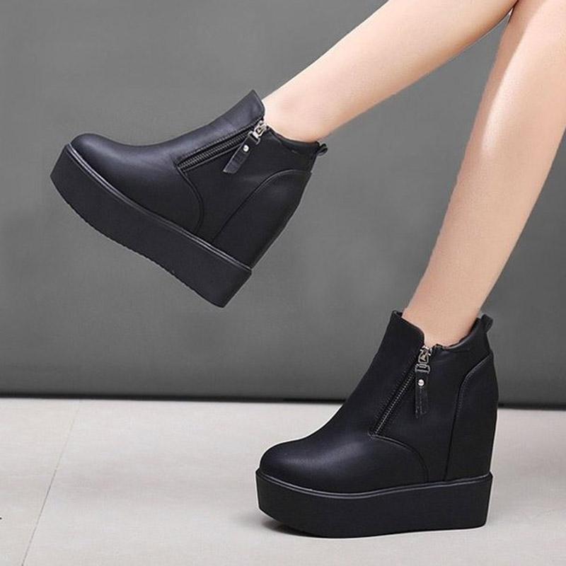 2021 Kadın Artan Boy Ayak Bileği Çizmeler Yüksek Top Punk Platformu Ayakkabı Siyah Kalın Taban Moda Patik Takozlar Botas Mujer 8825n