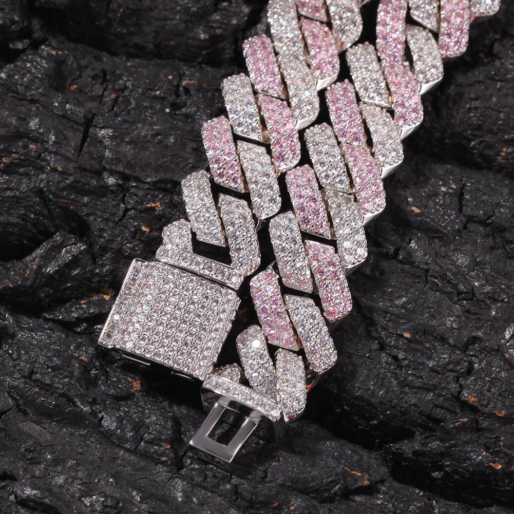 13mm Cuivre 2row Formulaire Curb BRACELET CUBAN CZED OUT OUT CZ Bracelet Accepter Couleur personnalisée pour Homme Luxury Box Fermoir Drop Expédition