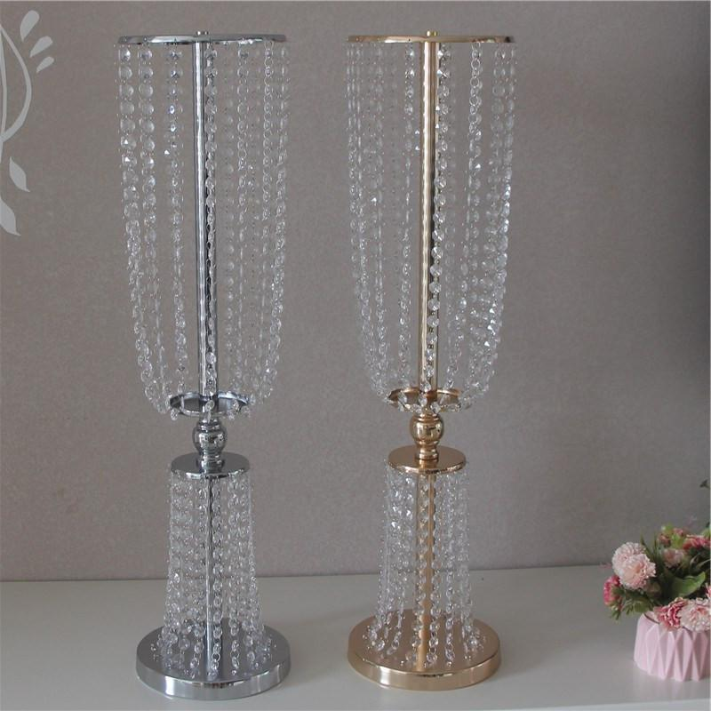 60CM Tall Upscale Crystal Bead Curtain Cited Wedding Ceterpieces Table Decoration Candlestick Welcome Area Decoration Props