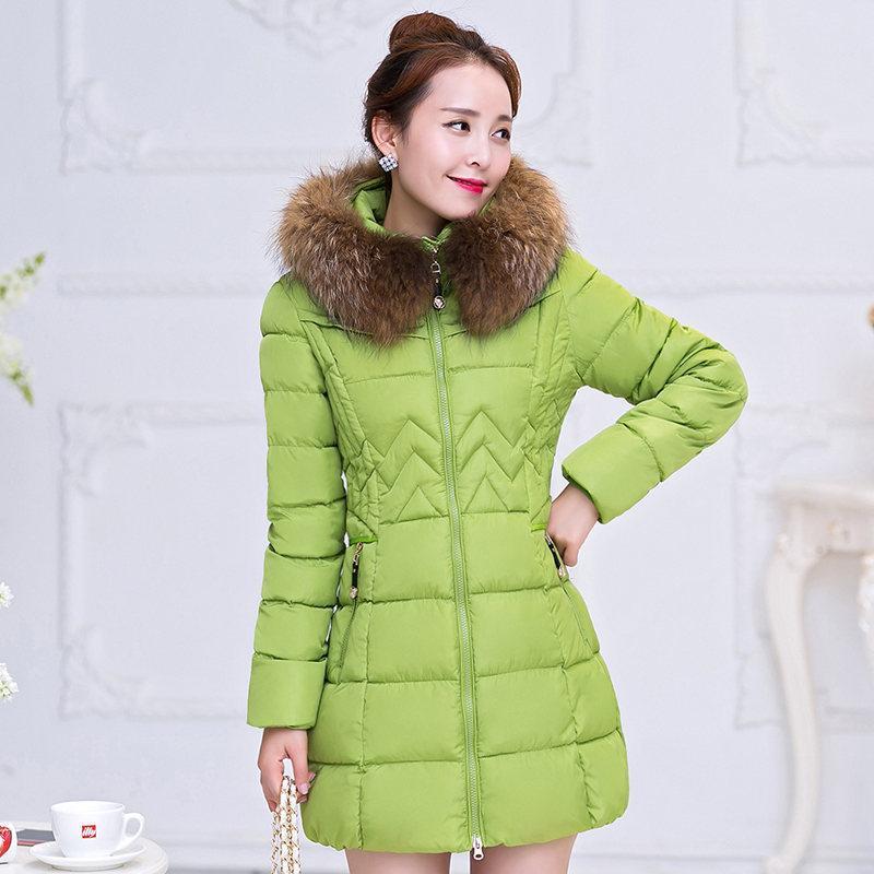 Talla grande 6XL Cuello de piel con capucha Chaqueta de invierno Mujeres de gran tamaño Manteau Femme HIVER LOND CODIDO DE ALGODÓN ABAPADO CALIENTE Parka C4917