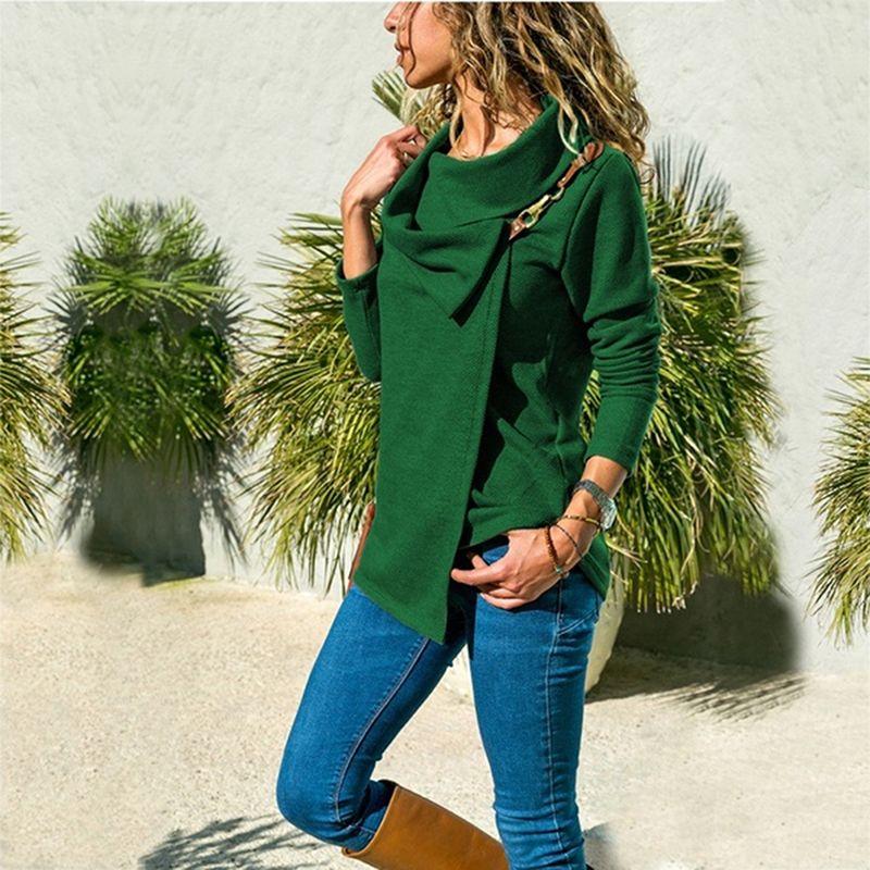 Outono mulheres t-shirts 2021 solta casual feminino t-shirt giro para baixo colarinho moda manga longa irregular tunic tops