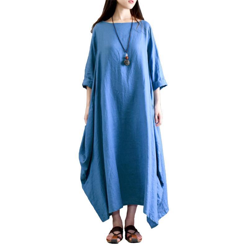Yaz Artı Boyutu 5XL Elbise Kadınlar Için Etnik Katı Pamuk Keten Elbise Rahat Gevşek Baggy Vintage Maxi Robe Vestidos Kadın
