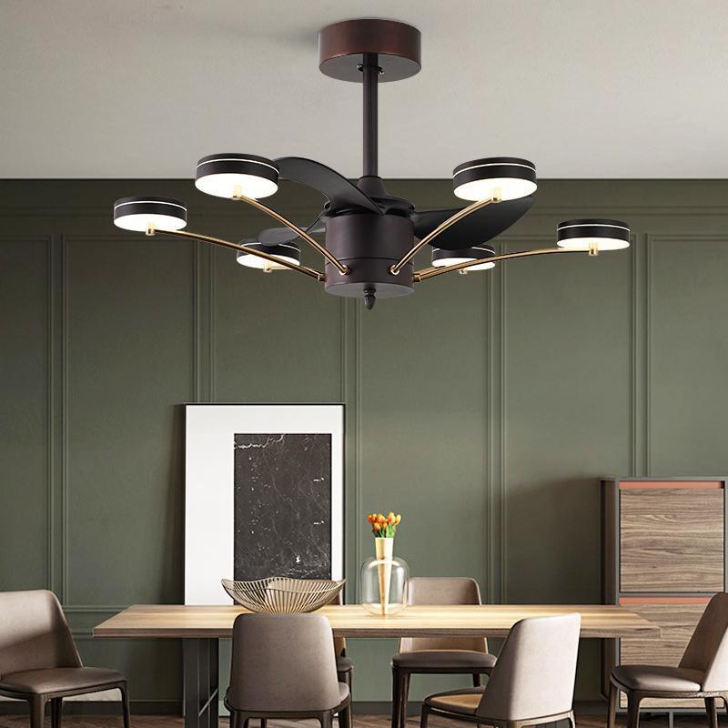 Stile di differenza da 42 pollici 13 di differenza di telecomando MUTE LED Camera creativa Stanza di cristallo Ventilatore per ventilatore a soffitto con luce