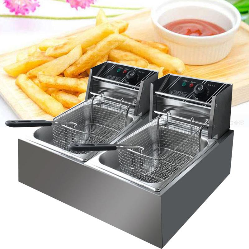2021Commercial Electric Deep Fryer Double Tank Stainless Steel Oil Fat Chip Fryer Oven French Fries Frying Machine2500w