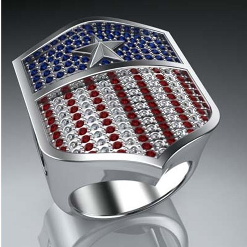 LUXURY RED BLU BLU BLU CRISTALLO AMERICANA ANELLO ANELLO UOMO GOLD Capitano Esercito America Scudo Anelli per le donne Anniversary Regali Gioielli