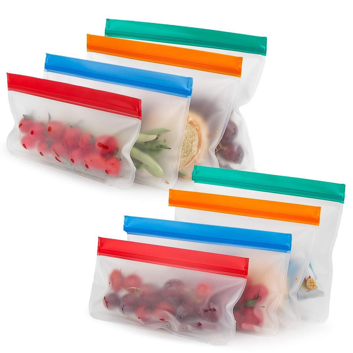 Kitchen Organization Food Fresh Bags Fruit Container Reusable Silicone Ziplock Bag Leakproof Refrigerator Saran Wrap Transparent Pocket Makeup Organizer