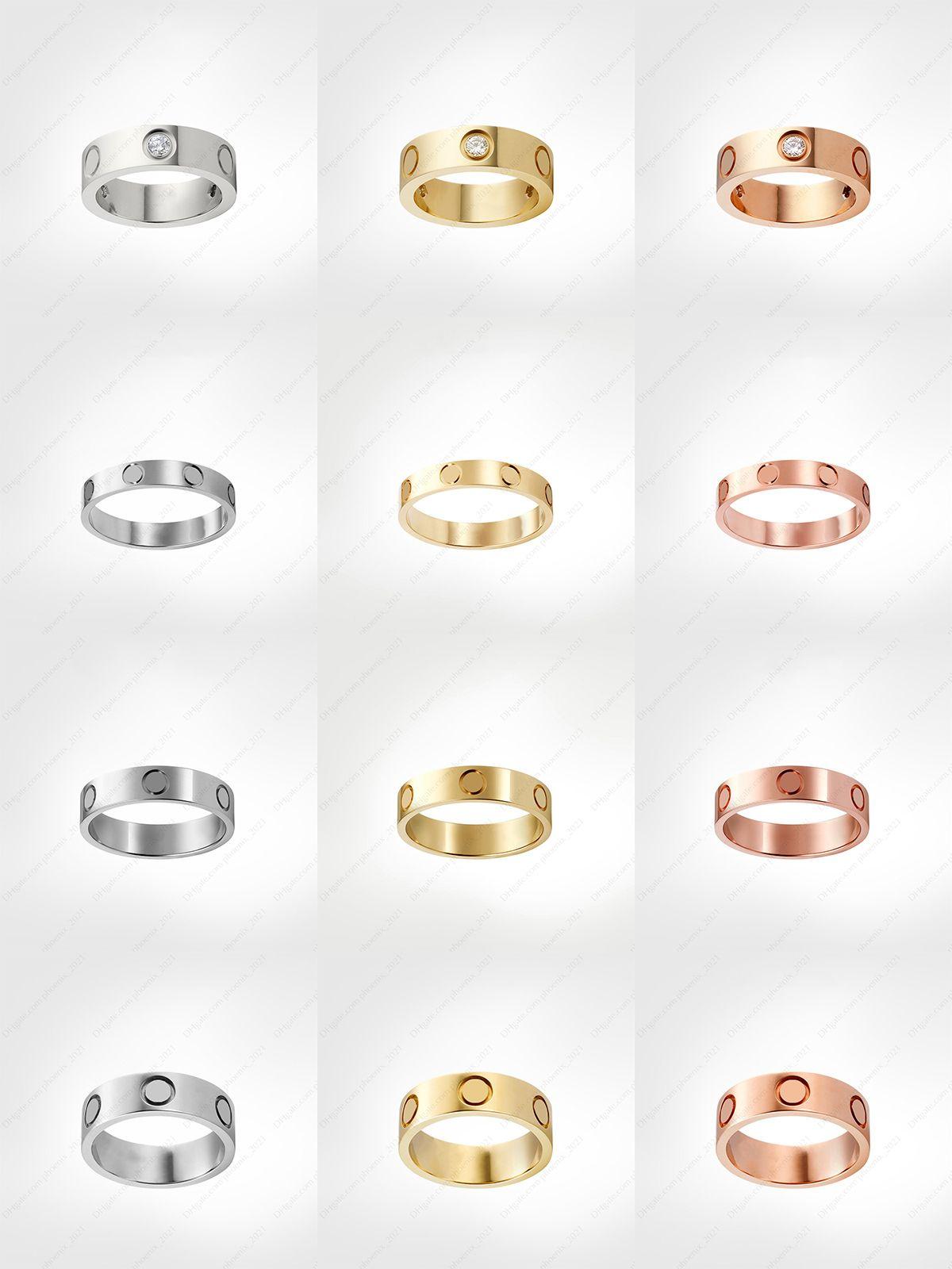 Love parafuso anel mens banda anéis 3 diamantes 2021 designer jóias de luxo mulheres titânio liga de aço azul-banhado a ouro artesanato de ouro prata rosa nunca fade não alérgica