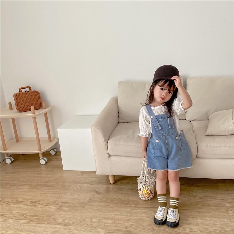 Jeans Coreano Verão Meninas Meninas Meninos Roupas Criança Casual Moda Infantil Roupas Strap Shorts Crianças Crianças Traje para 1-7t