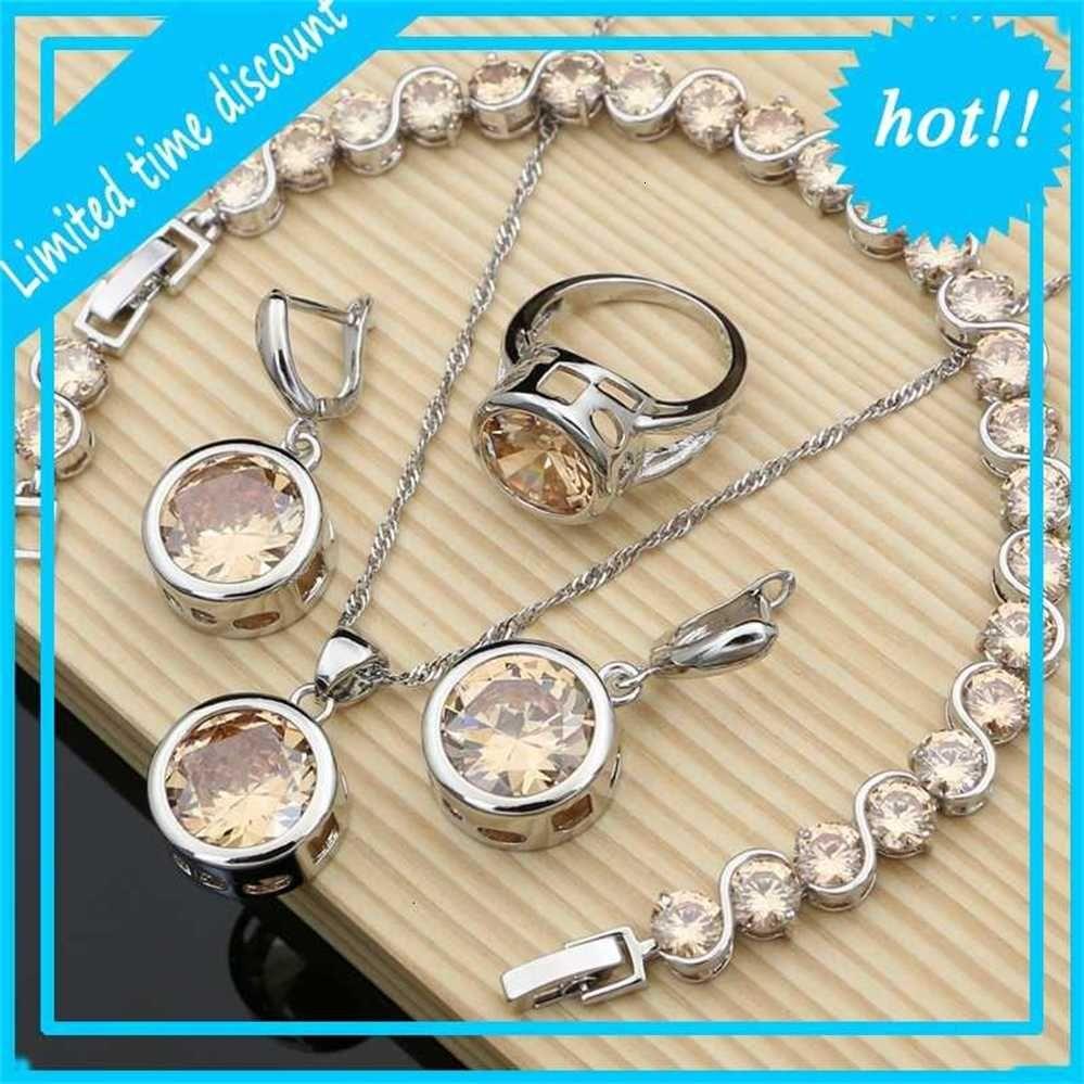 Вокруг ювелирных наборов белый Zirconia Серьги из каменных браслетов подарки для женщин Dropshipping