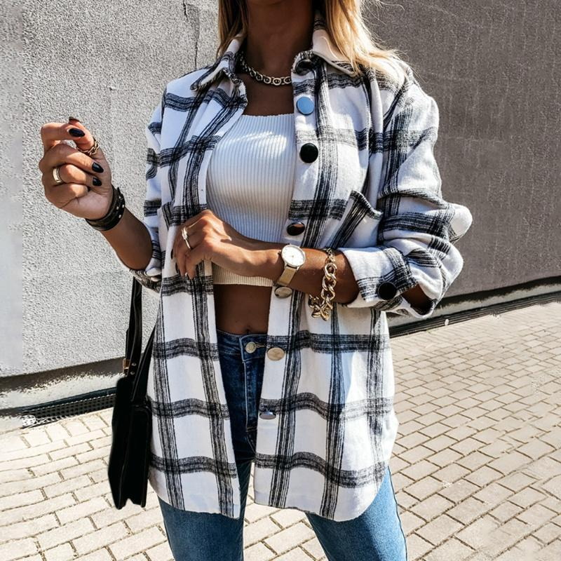 Women Plaid Blouse Coat Long Sleeve Button Oversized Shirt Turn Down Collar Thick Ladies Vintage Top Female Long Clothing