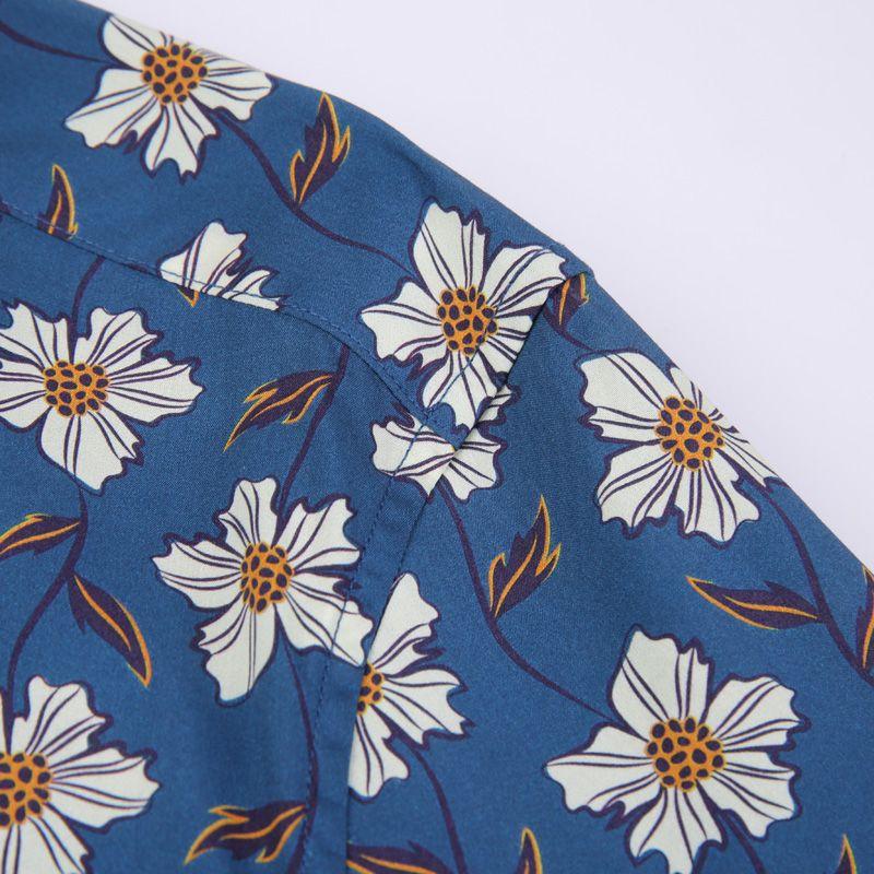 Мужские праздники повседневный пляж цветочные принты гавайские рубашки карманные - меньше дизайн с длинным рукавом стандартные стильные цветы хлопчатобумажная рубашка