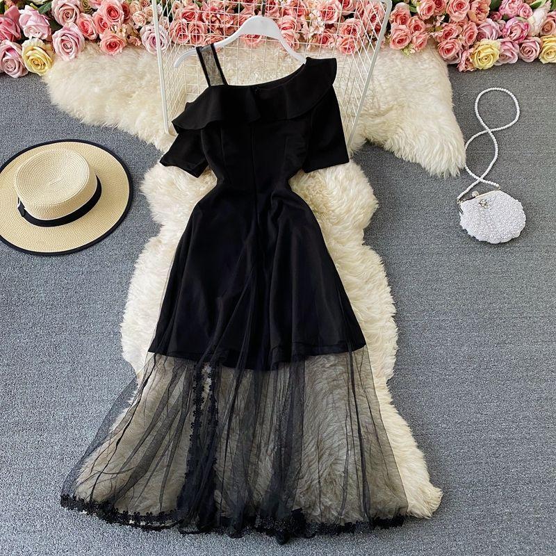 2021 старинные черные сетки лоскутная вечеринка длинные женщины сексуальные косой шеи одно плечо с коротким рукавом высокие талии Vestidos весна лето Z6RG