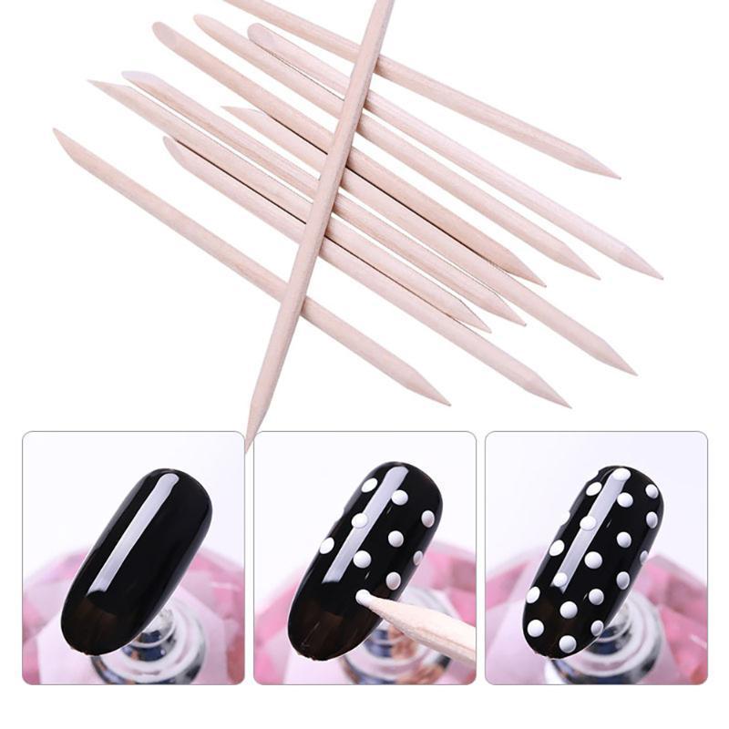Cuticle Pushers 10pcs Orange Pusher Wooden Manicure Stick Dead Skin Remove Pedicure Care Set Nail Art Tools