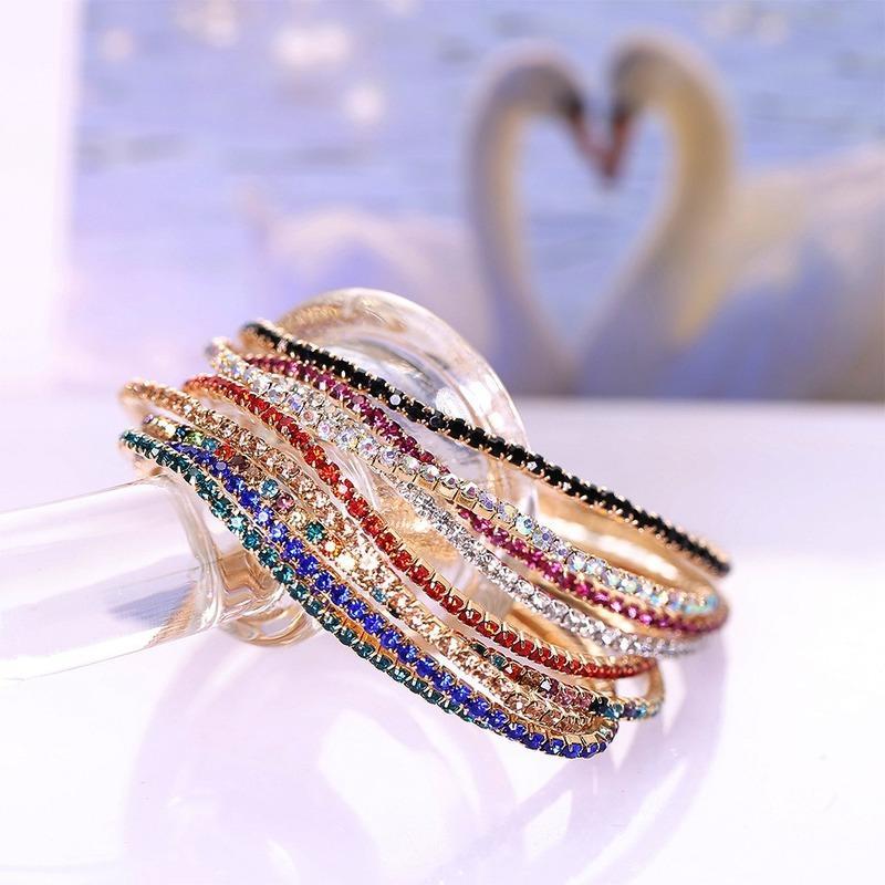 Crystal Diamond Tennis bracelet Red Blue Black Cubic Zirconia Bracelets elastic Stretch Wristband bangle cuff for women fashion dff1591