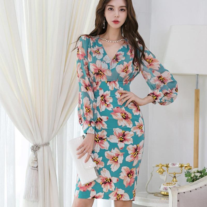 2021 Nova alta qualidade sexy flor floral impressão laço retalhos vestidos vestidos verão v-pescoço vestido de lápis casual 3klu