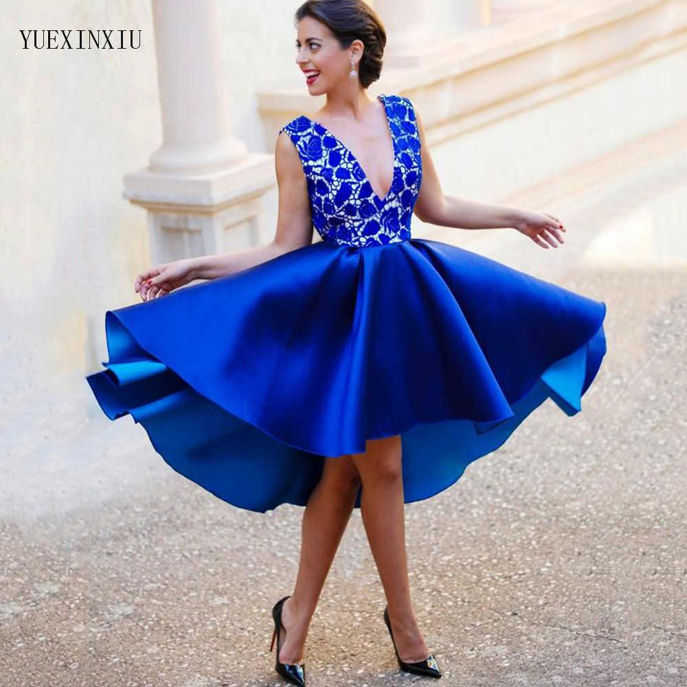 Eightree Royal Blue Prom Dresses 2020 V-neck Backless Lace Top Short Evening Dress Satin Sexy Formal Party Gowns Knee Length H0916