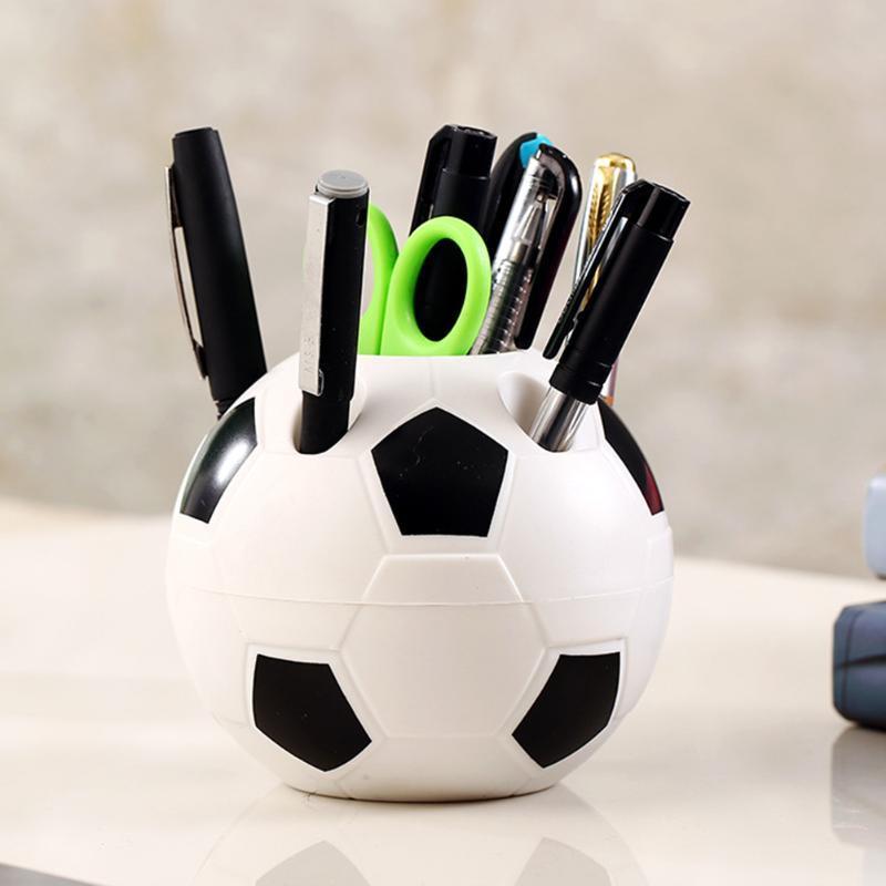 Pencil Bags Soccer Ball Shaped Toothbrush Pen Holder Makeup Brush Rack Holders Desk Home Decoration