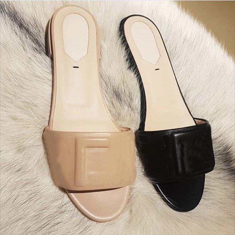 Женщины скользиты сандалии летняя кожаные скольжения квартиры сексуальные буквы сандалии дамы пляж флип флопс дамы комфортные ходьбы обувь с коробкой 271