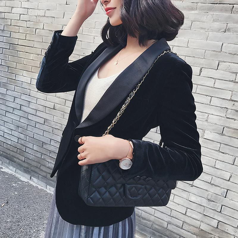 Бархатный костюм Женская весна и осень Корейский тонкий маленький черный с длинным рукавом повседневная куртка короткие костюмы Blazers