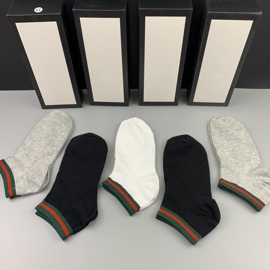 패션 브랜드 인쇄 양말 남성 여자 순수 코튼 발목 짧은 양말 상자 디자인 양말 정기적 인 야외 레저 순수한 컬러 편지 양말