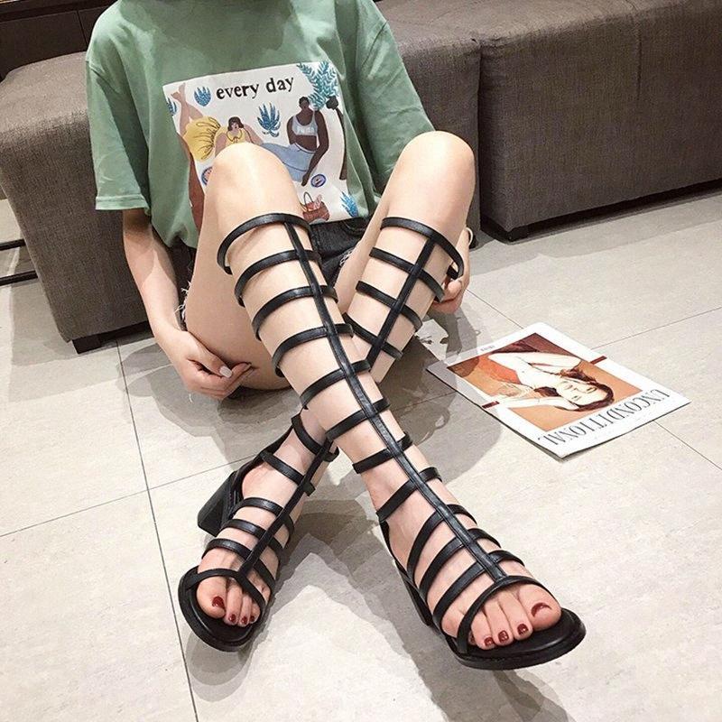 Yüksek tüp Roma tarzı 2019 kadın yaz sandalet çizmeler hollow geri fermuar blok yüksek topuklu çizmeler kadın moda büyük boy 41 t66h #