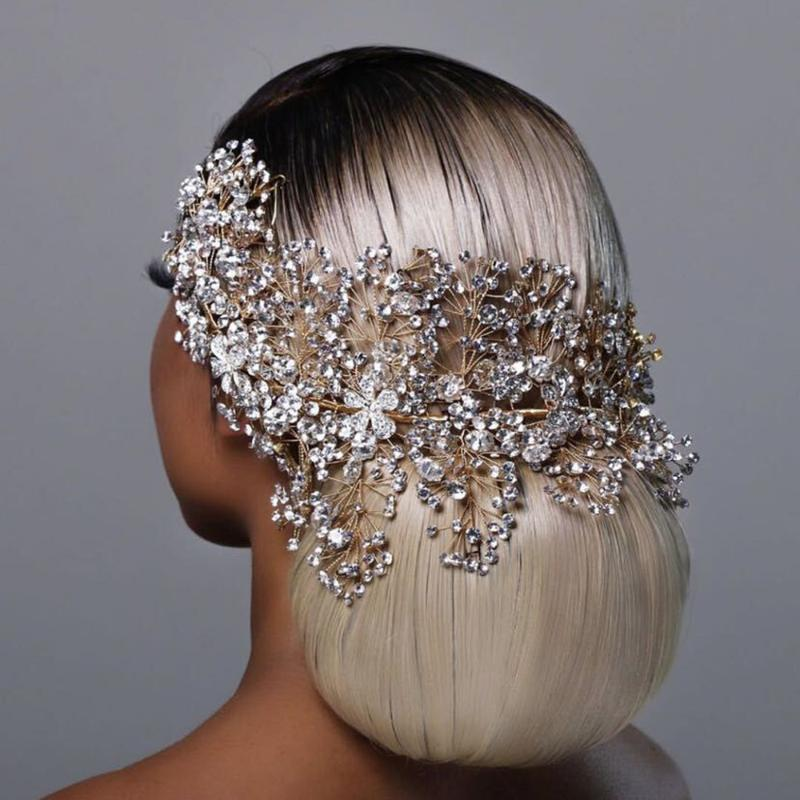 TopQueen HP240 золотые свадебные волосы ювелирные изделия роскошные кристалл украшения волос горный хрусталь Свадебная корона женщина Tiara Pageant Crown 416 T2