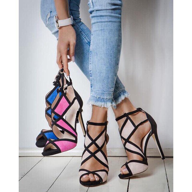 Neue Ankünfte Plus Size Sandalen Frauen Kleid Schuhe Damenschuhe Colorblock Kreuzausschnitt Schnalle High Heels 35-43 Stiefel Frei schnelles Verschiffen
