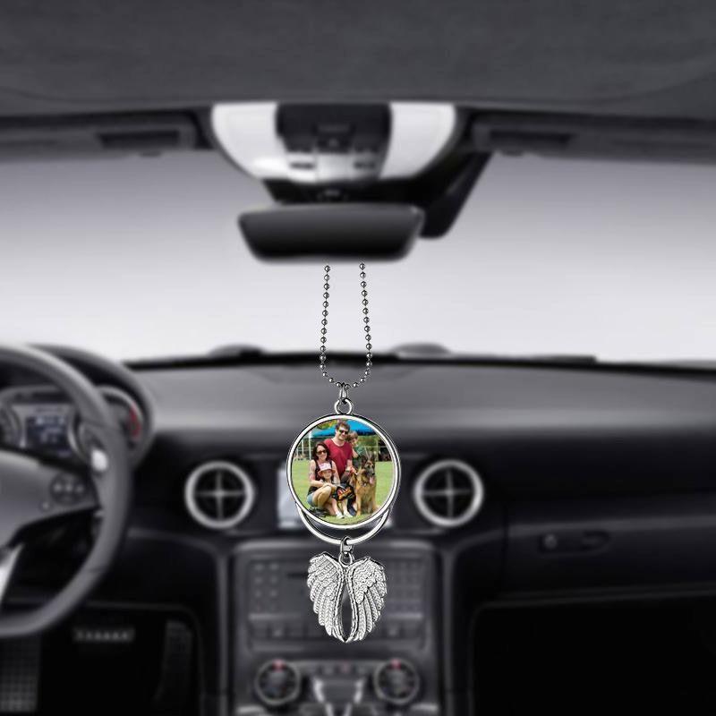 Sublimation Leerzeichen Auto Anhänger Engelsflügel Rückspiegel Dekoration Hängen Charme Ornamente Automobile Innenzubehör