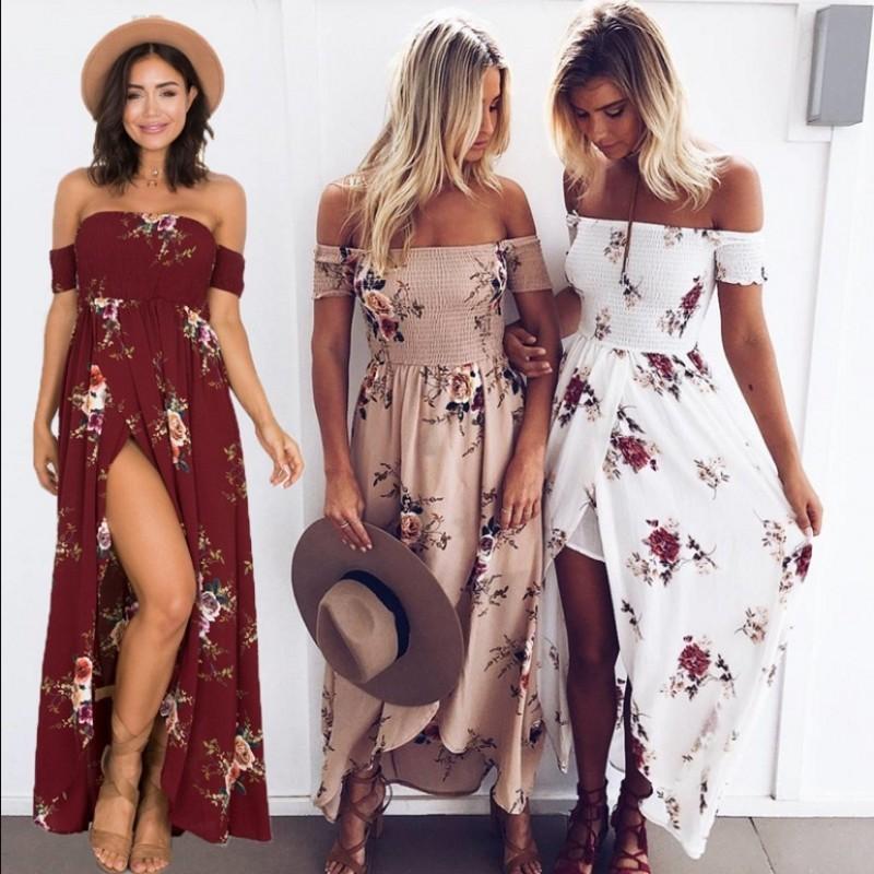 Kadınlar Sıcak Satış Çiçek Baskı Straplez Boho Elbise Akşam elbise Parti Uzun Maxi Elbise Yaz Sundress Günlük Elbiseler Artı Boyutu XS-5XL