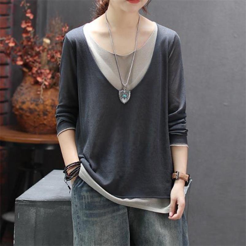 Joilature T рубашка женская одежда новых осенних топов повседневная O-шеи семь цветов полного рукава поддельные две части женщины футболки 210312