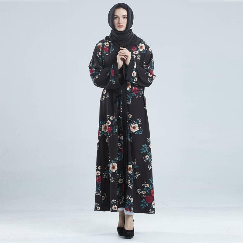 Muslim Kleid Abayas Robe Dubai Caftan Kaftan Dubai Stil Open Front Kaftan Abaya Muslim Strickjacke Jilbab Robe Maxi Dame Kleid