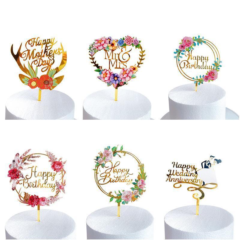 Düğün Pastası Topper Renkli Çiçek Akrilik Kek Topper Doğum Günü Pastası Düğün Sevgililer Günü Anneler Günü Tatlı Dekorasyon DHE5023