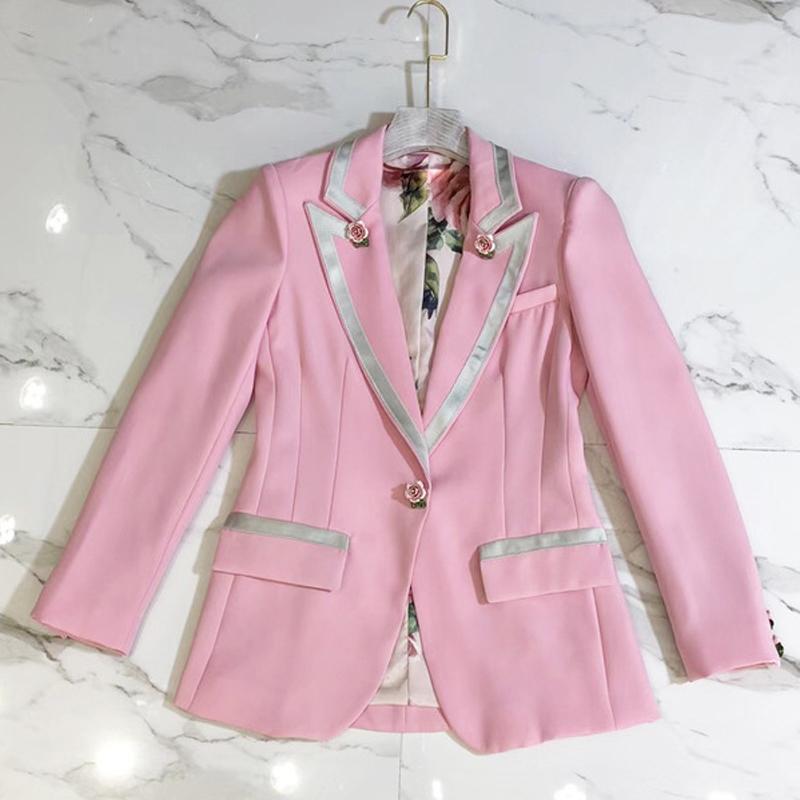 Moda Uzun Astar Dış Tasarımcı Pembe Ceket Kadın Ceket Kol Çiçek Ceket Gül Pist Düğmeleri Bahar 2021 Giyim MVCSO