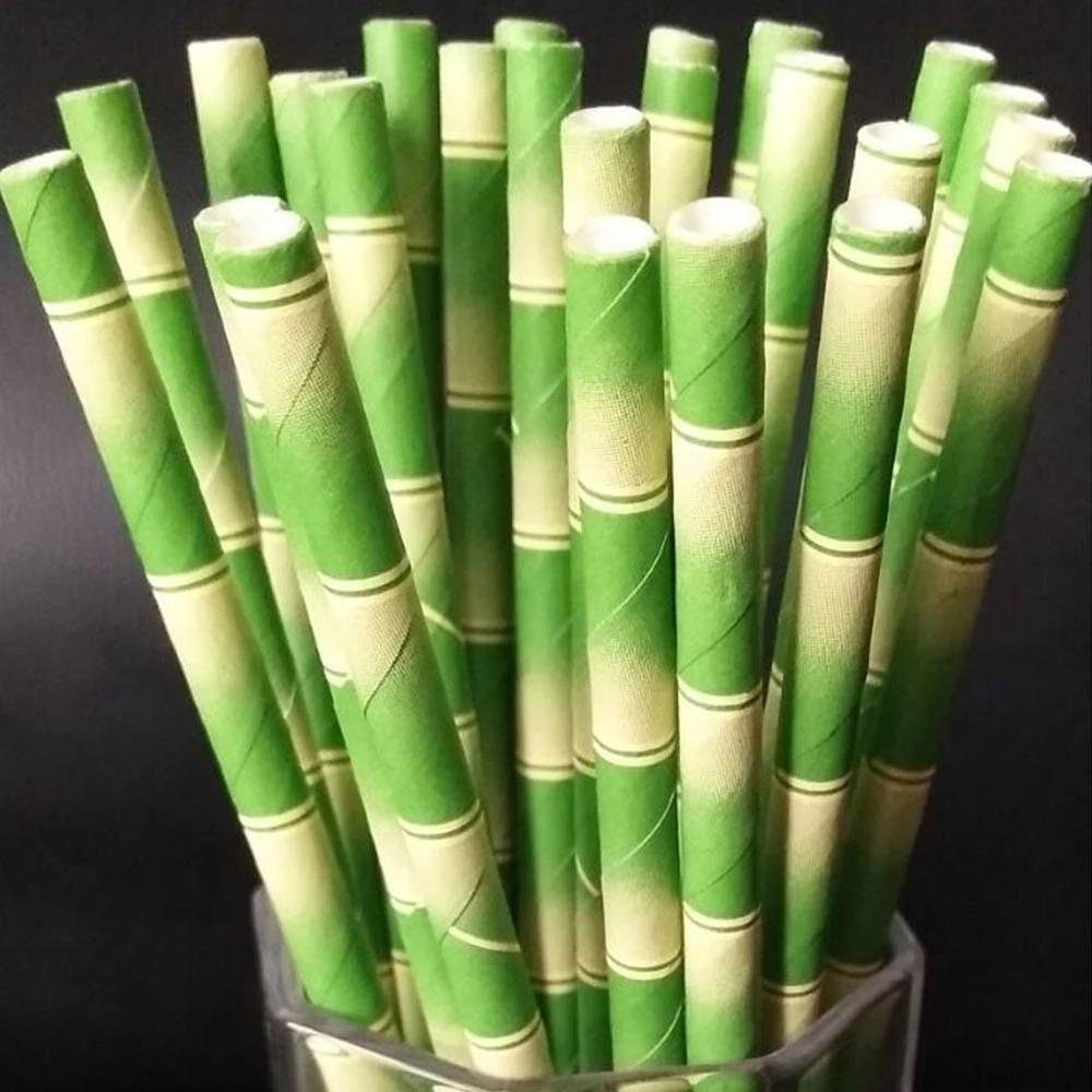 Palhas de papel verde marrom padrão de bambu aniversário bebendo palha descartável mesa de mesa de mesa home cozinha wll235