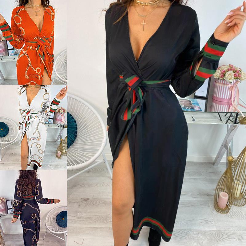 2020 Femmes Été V-Col V-Col V-Col sexy à la taille haute avec ceinture longue chaîne de la chaîne de la chaîne d'impression de mode décontracté soirée robe à manches longues J0301