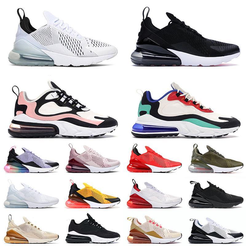 nike air max 270 react airmax Vente en gros 2021 Top Quality Sports Chaussures de course Hommes Femmes Noir Blanc Bauhaus Bleu À peine Rose Moyen Olive Baskets Baskets
