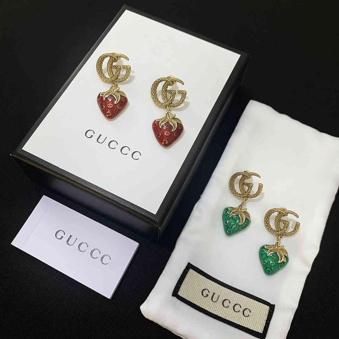 Fine Jewelry Online Double letter strawberry Earrings female family ancient brass material silver needle earrings 65% Off Store Online Sale