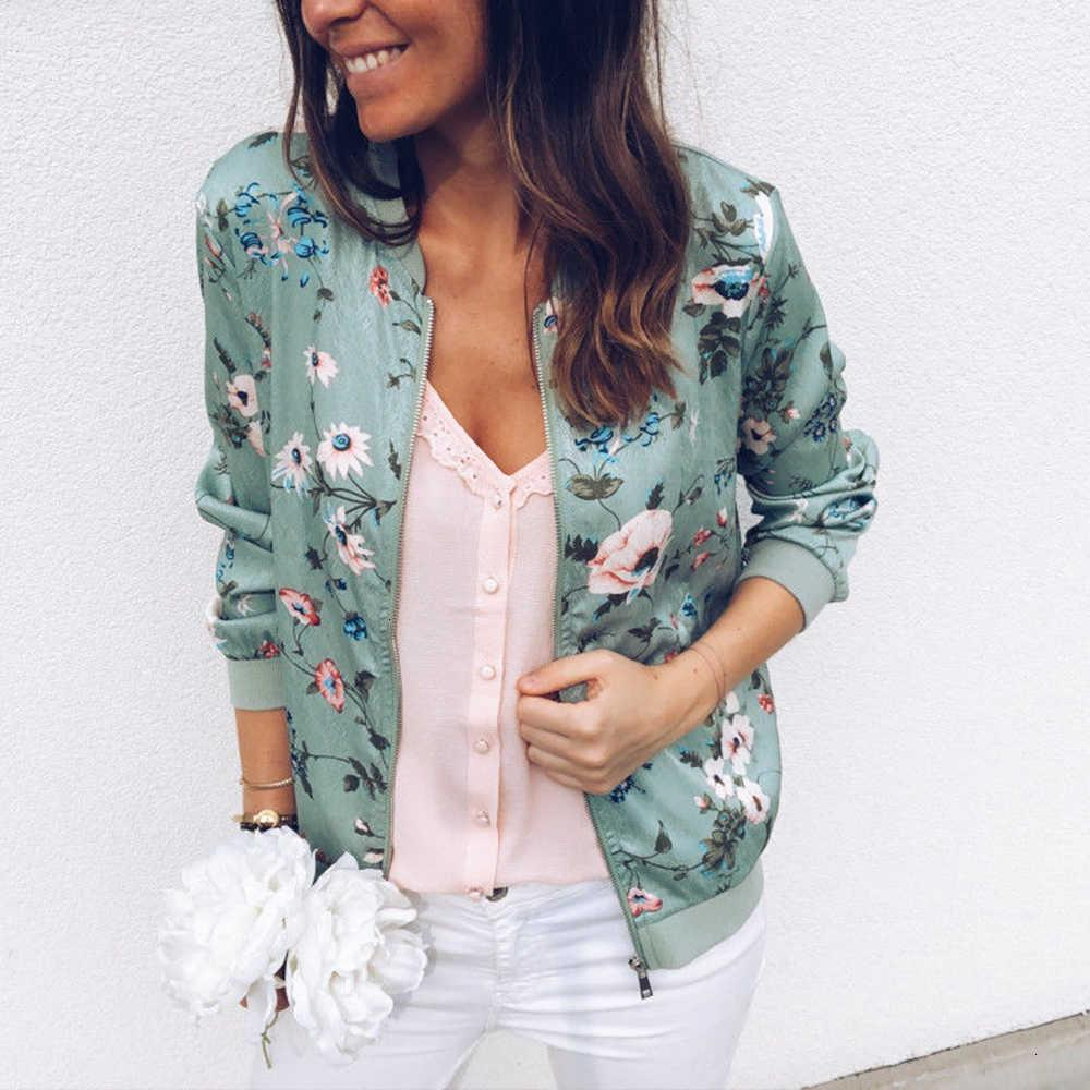 Bomber Jacket Women Floral Print Plus Size Coat Spring Summer Ladies Casual Classic O-neck Long Sleeve Outwears Basic Coats Cx200725